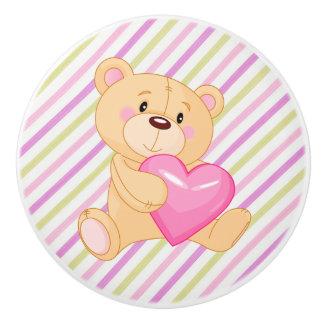 Botón/oso y rayas de cerámica con el corazón pomo de cerámica