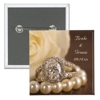 Botón oval del boda del anillo de diamante pins