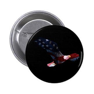 Botón patriótico de Eagle calvo Pin Redondo De 2 Pulgadas