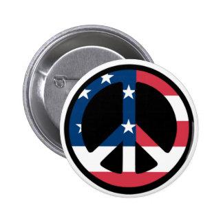 Botón patriótico de la paz pin redondo de 2 pulgadas
