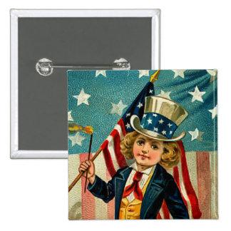 Botón patriótico del cuadrado del muchacho pins