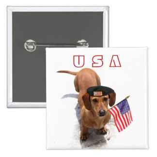 Botón patriótico del dachshund de los E.E.U.U.
