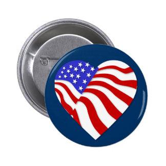 Botón patriótico del Memorial Day del corazón Pin Redondo De 2 Pulgadas