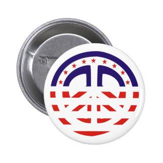 Botón patriótico del signo de la paz pins