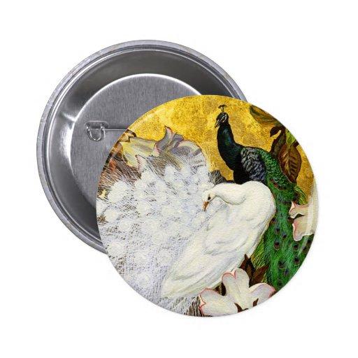 Botón: Pavos reales blancos y azules Pin