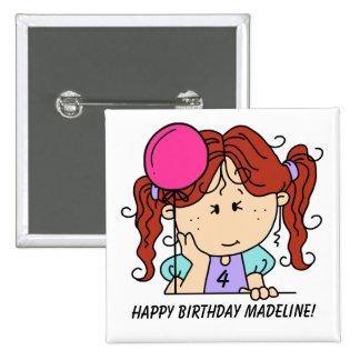 Botón pelirrojo de encargo del cumpleaños del chic pin cuadrado