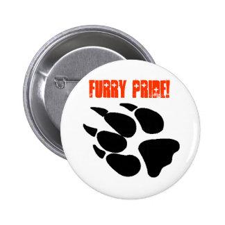 Botón peludo de Pawprint del orgullo Pin