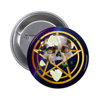 Botón Pentagram-Cráneo-Blanco de los rosas del oro