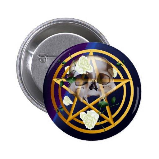 Botón Pentagram-Cráneo-Blanco de los rosas del oro Pin
