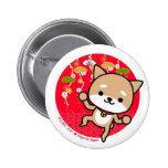 Botón - perrito - rojo japonés pins