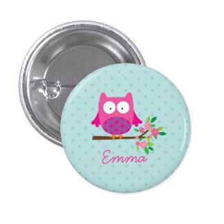 Botón personalizado búho lindo rosado pin redondo de 1 pulgada