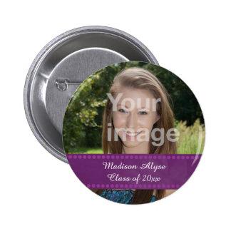 Botón personalizado del año de la graduación de la pin redondo de 2 pulgadas
