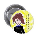 Botón personalizado del cumpleaños de Animae Pin