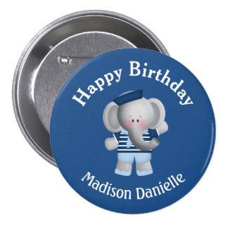 Botón personalizado del cumpleaños del elefante