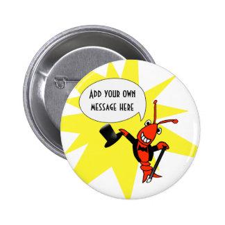 Botón personalizado del smoking de los cangrejos/d pin redondo de 2 pulgadas