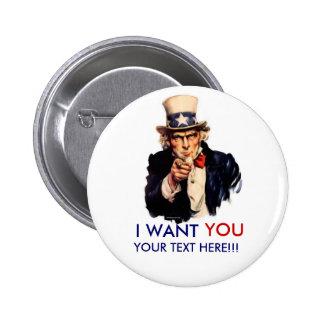 Botón personalizado del tío Sam Pin Redondo De 2 Pulgadas