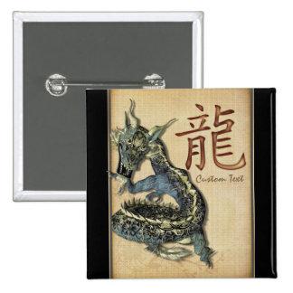 Botón personalizado dragón azul chino pin