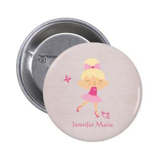 Botón personalizado lindo de la bailarina del pelo pins