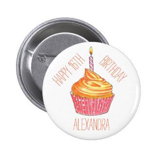 Botón personalizado magdalena de la celebración pin redondo de 2 pulgadas