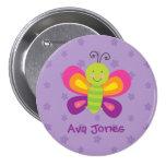 Botón personalizado mariposa colorida del Pin