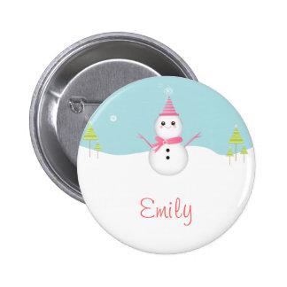 Botón personalizado muñeco de nieve pin redondo de 2 pulgadas