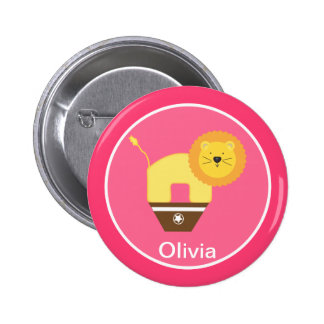 Botón personalizado rosa del cumpleaños del circo pins