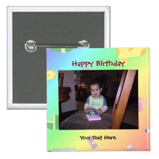 Botón/Pin de la foto del cumpleaños Pin Cuadrado