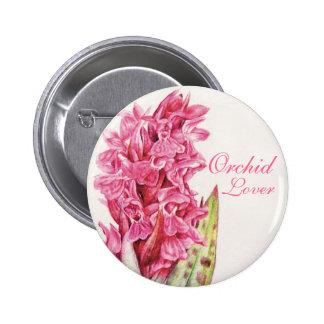 Botón pintado amante del arte de la orquídea
