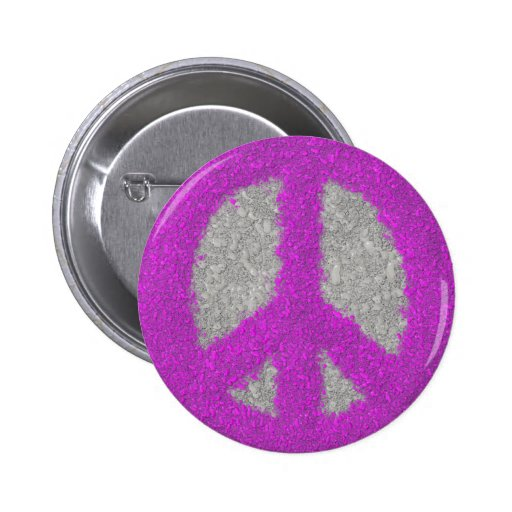 Botón pintado Splat fucsia del signo de la paz Pins