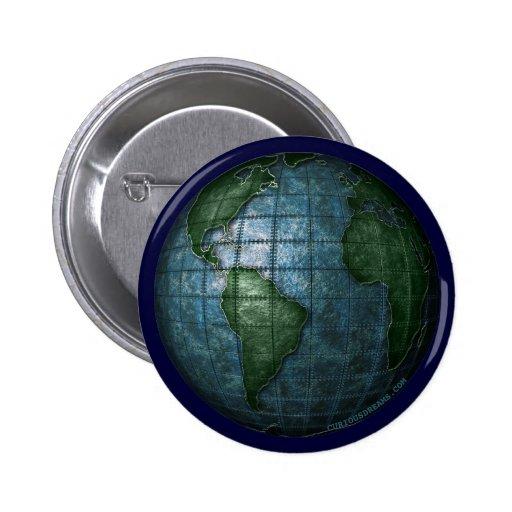 Botón plateado hierro de la tierra pin