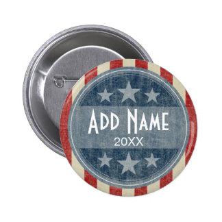 Botón político - barras y estrellas del vintage pin redondo de 2 pulgadas