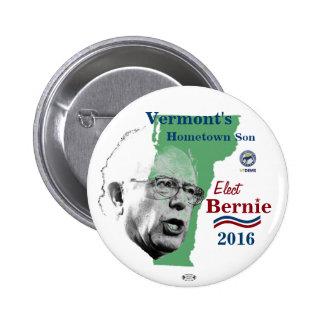 Botón político de Bernie 2016 del hijo de Vermont Pin Redondo De 2 Pulgadas