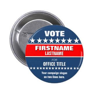 Botón político de encargo pin redondo de 2 pulgadas
