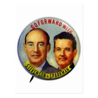 Botón político de Stevenson Sparkman del kitsch Postales