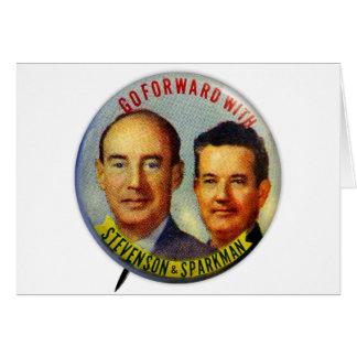 Botón político de Stevenson Sparkman del kitsch Tarjeta De Felicitación
