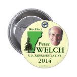 Botón político del pinback de Peter Vermont 2014 g Pin