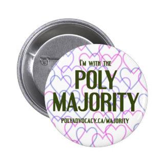 """Botón polivinílico 2,25"""" de la mayoría pin redondo de 2 pulgadas"""