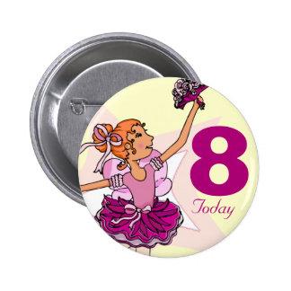 Botón poner crema rosado del cumpleaños del chica pin redondo de 2 pulgadas