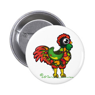 Botón portugués del gallo pin redondo de 2 pulgadas