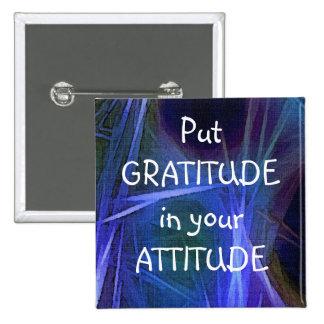 Botón positivo de la afirmación de la GRATITUD del Pin Cuadrado