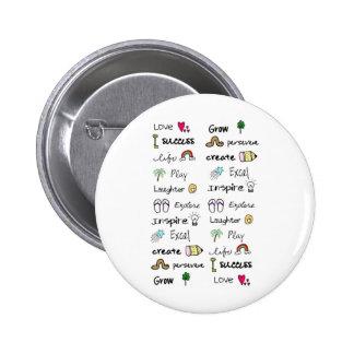 Botón positivo de las palabras pin