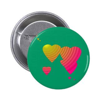 Botón precioso de los corazones pin redondo de 2 pulgadas