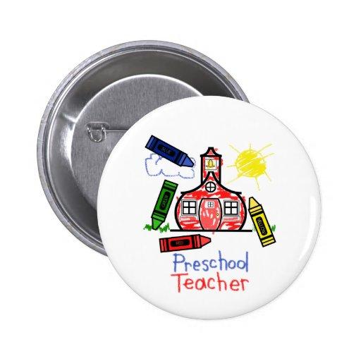 Botón preescolar del profesor - escuela y creyones pins
