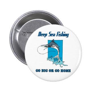Botón profundo de la pesca en mar pin redondo de 2 pulgadas