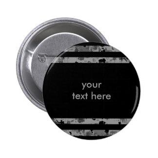 Botón punky rayado sucio negro y gris pins