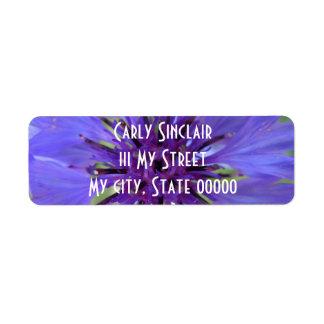 Botón púrpura azulado del soltero etiqueta de remitente