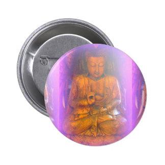 botón púrpura de Buda Pin Redondo De 2 Pulgadas