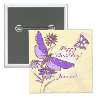 Botón púrpura de la mariposa del melocotón pin cuadrado