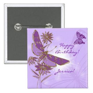 Botón púrpura de la mariposa pin cuadrado