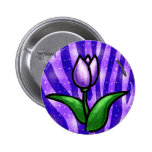 Botón púrpura de la raya del tulipán y de la cebra pin